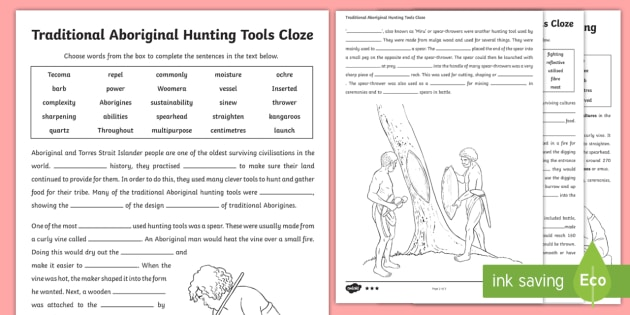 Traditional Aboriginal Hunting Tools Cloze Differentiated Activity Shee