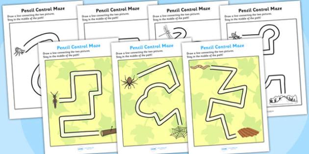 Minibeast Themed Pencil Control Maze Worksheets - minibeast, pencil, control, maze, pencil control, minibeast worksheet, pencil control, minibeast maze