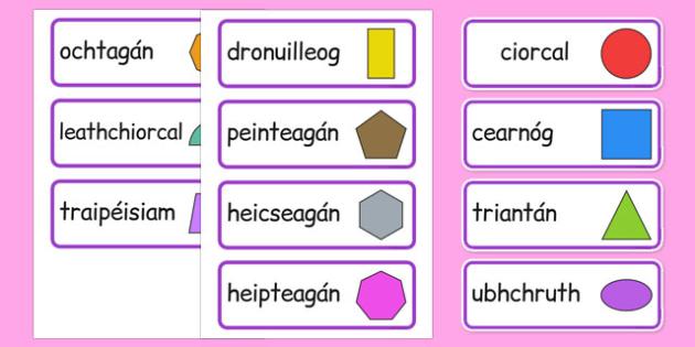 2D Shape Word Cards Gaeilge - gaeilge, 2d shape, word cards, word, cards, maths, numeracy, shape