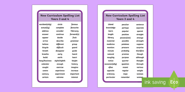 2014 Curriculum Spelling List Years 3 and 4 Tolsby - 2014, curriculum, spelling, spell, spelling list, year 3, year 4, ikea tolsby, ikea, tolsby, prompt frame, prompt, frame
