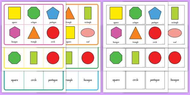 2D Shape Bingo - New Zealand, maths, geometry, games, bingo