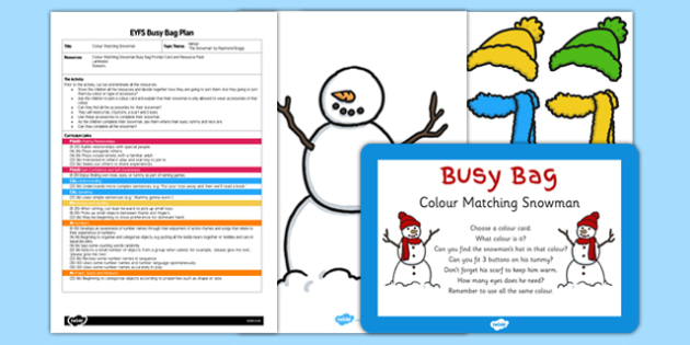 Colour Matching Snowman EYFS Busy Bag Plan and Resource Pack - colour, matching, snowman, busy bag, pack