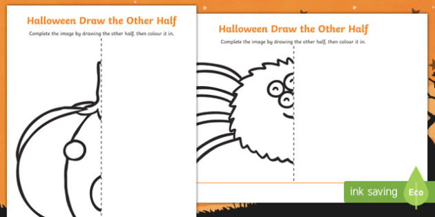 Halloween Themed Draw the Other Half Worksheet / Activity Sheet