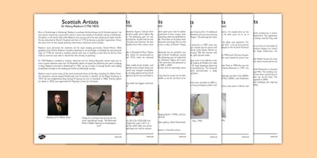 Scottish Artists Information Sheets - CfE, Scottish Artists, art, scotland, sir henry raeburn, samuel john peploe, jack vettriano, alison watt, douglas gordon