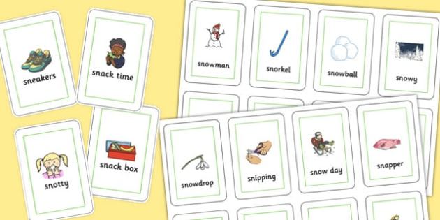 Two Syllable 'SN' Playing Cards - sn sound, syllable, playing cards, sound