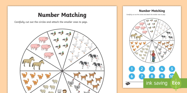 Number Matching Pegs Activity Farm Themed - farm, matching, pegs, number