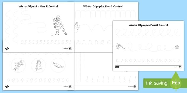 Winter Olympics Pencil Control Worksheets - winter, olympics