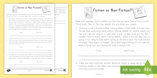 Fiction Or Non Fiction Worksheet Worksheet Fiction Non