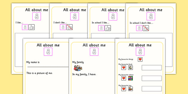 All About Me Book Ourselves Sen Booklet Writing Template