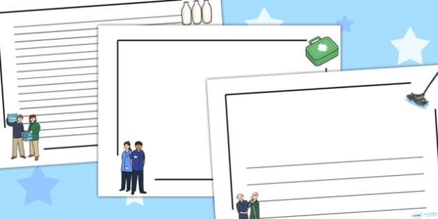 People Who Help Us Page Borders Landscape - writing template