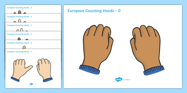 European Counting Hands - counting, numeracy, hands, hand, counting on hands, european counting, numbers, count