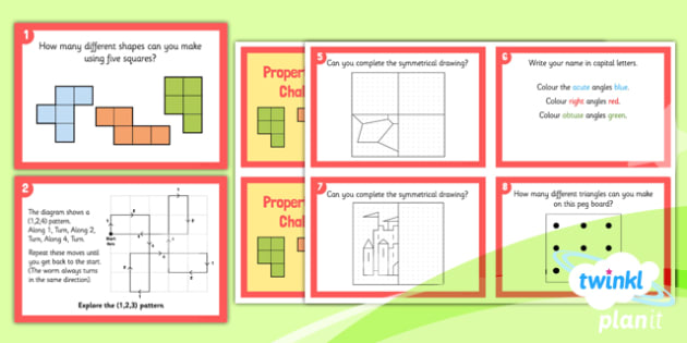 PlanIt Maths Y4 Properties of Shapes Challenge Cards