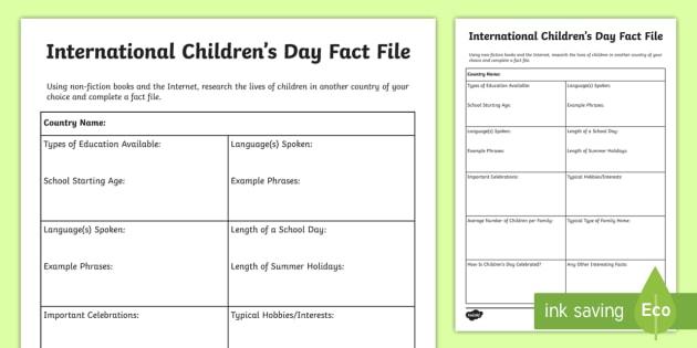 International Children's Day Fact File Worksheet / Worksheet - CfE ...