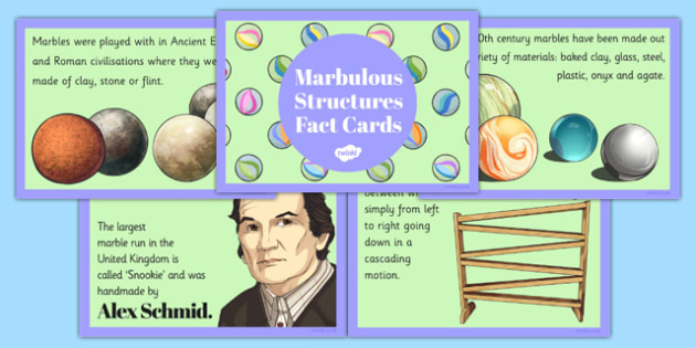 Marbulous Structures Fact Cards - marbulous, structures, fact cards, fact, cards