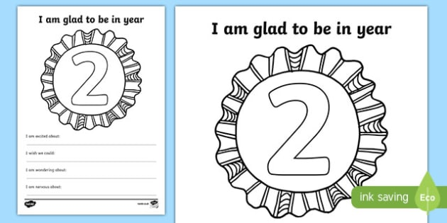 Im Glad to be in Year 2 Writing Frame - writing template, write