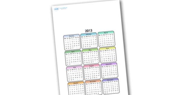 Editable 2013 Calendar - calendar, editable calendar, months of the year, display calendar, display, display poster, poster, the year, 2013, 2013 calendar