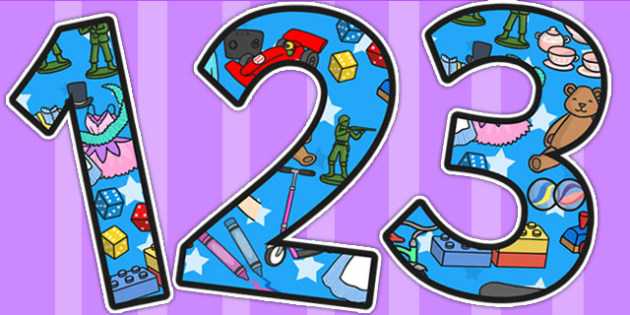 Toys Themed A4 Display Numbers - toys, numbers, number, display