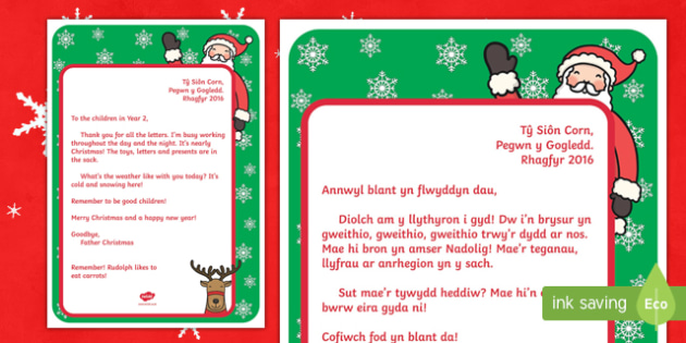 Father Christmas Welsh Second Language Letter