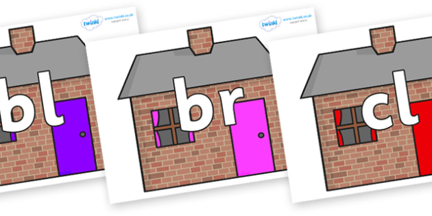 Initial Letter Blends on Brick houses - Initial Letters, initial letter, letter blend, letter blends, consonant, consonants, digraph, trigraph, literacy, alphabet, letters, foundation stage literacy