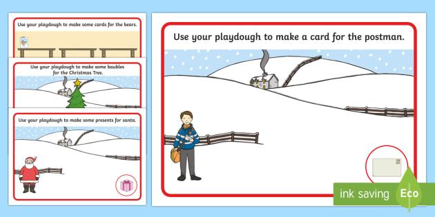 Playdough Mats to Support Teaching on The Jolly Christmas Postman - playdough, christmas