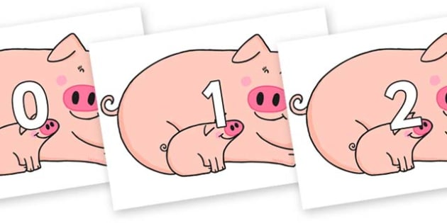 Numbers 0-31 on Hullabaloo Pigs to Support Teaching on Farmyard Hullabaloo - 0-31, foundation stage numeracy, Number recognition, Number flashcards, counting, number frieze, Display numbers, number posters