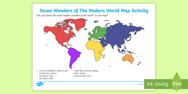 New Seven Wonders Of The Modern World Map Skills Activity