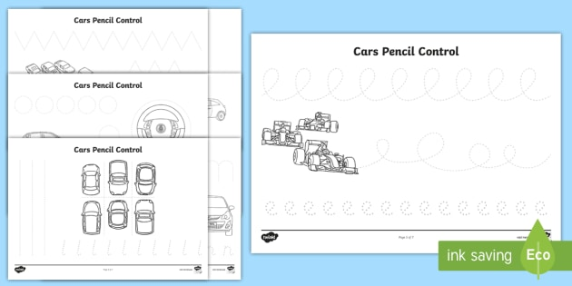 car pencil contol activity sheets cars transport fine motor. Black Bedroom Furniture Sets. Home Design Ideas
