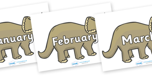 Months of the Year on Triceratops - Months of the Year, Months poster, Months display, display, poster, frieze, Months, month, January, February, March, April, May, June, July, August, September