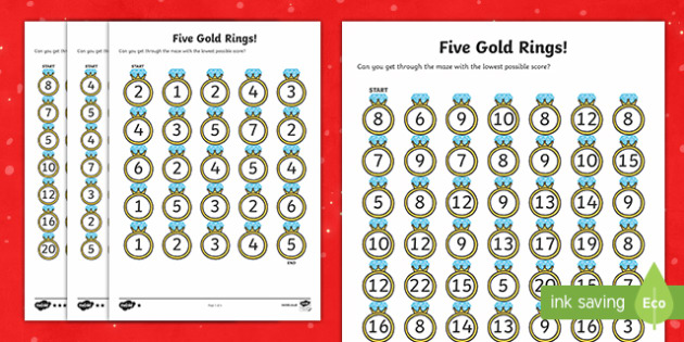 Five Gold Rings Activity Sheets