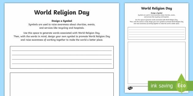 Ks2 World Religion Day Design A Symbol Worksheet Activity