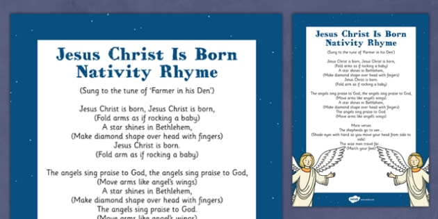 Jesus Christ is Born Nativity Song Rhyme - jesus christ, born, nativity, song, rhyme