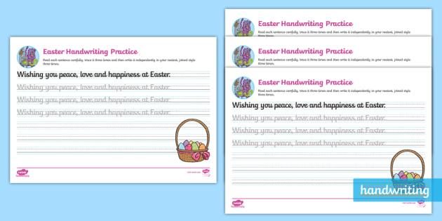easter cursive handwriting practice eyfs ks1. Black Bedroom Furniture Sets. Home Design Ideas
