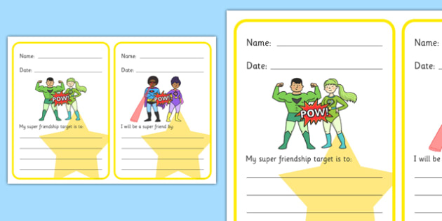 My Friendship Targets And 'I Will Be A Good Friend' Superhero Themed Writing Frames