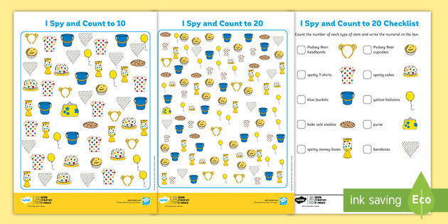 KS1 BBC Children in Need I Spy & Count Differentiated Worksheets