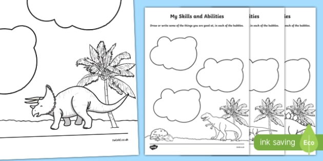 Dinosaur Themed Skills and Abilities Worksheet / Activity Sheet - dinosaur, skills, abilities, activity, worksheet