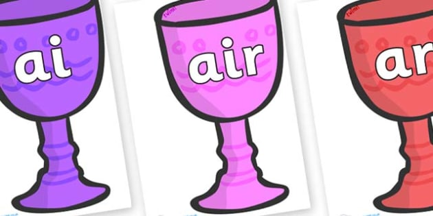 Phase 3 Phonemes on Goblets - Phonemes, phoneme, Phase 3, Phase three, Foundation, Literacy, Letters and Sounds, DfES, display
