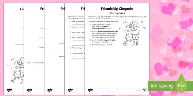 Friendship Cinquain Poem Writing Resource Pack Valentine S