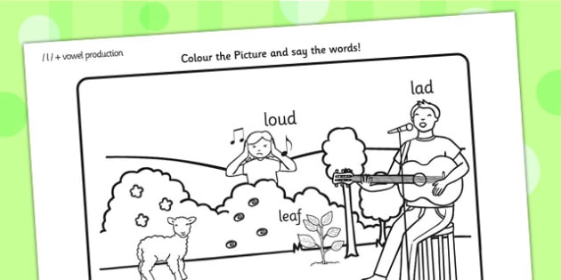 Word Initial l Production Colouring Scene - initial I, sounds