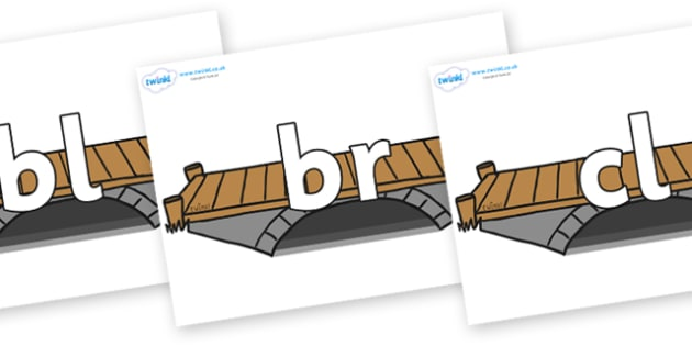 Initial Letter Blends on Bridges - Initial Letters, initial letter, letter blend, letter blends, consonant, consonants, digraph, trigraph, literacy, alphabet, letters, foundation stage literacy