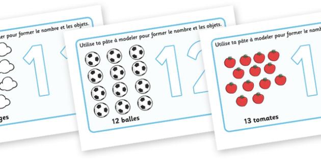 French Number Playdough Mats (11-20) - Playdough mat, francais, playdough resources, numeracy, numbers, playdough