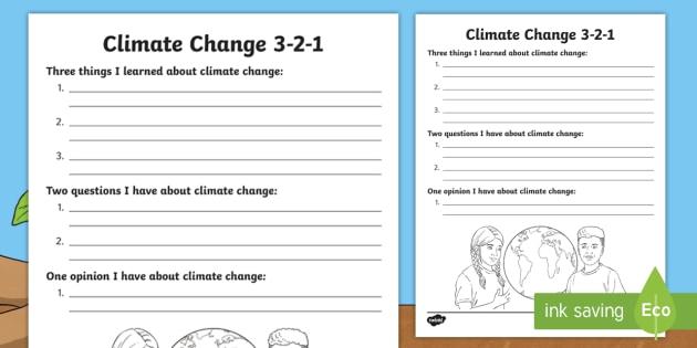 Climate Change 3-2-1 Worksheet / Worksheet - Climate Change, Fossil ...