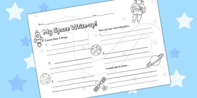 Space Write Up Worksheet - space, writing aid, lesson review