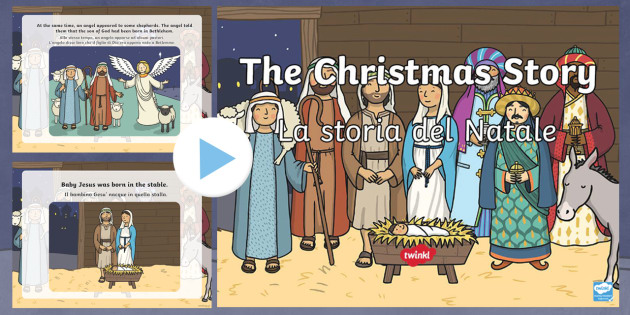 The Nativity Christmas Story PowerPoint English/Italian - The Nativity Christmas Story Powerpoint - powerpoint, power point, interactive, powerpoint presentat