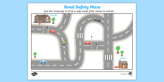 Road Safety Crossings Maze - road safety, crossings maze, crossings puzzle, crossing the road activity, activity, route to school, game, be safe, crossing the road, zebra crossing, lollypop lady, red man, green man, stop look and listen, traffic ligh