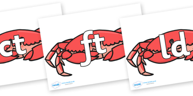 Final Letter Blends on Crabs - Final Letters, final letter, letter blend, letter blends, consonant, consonants, digraph, trigraph, literacy, alphabet, letters, foundation stage literacy