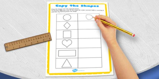 Visual Perception Copy the Shapes Worksheet - copy, shape, visual