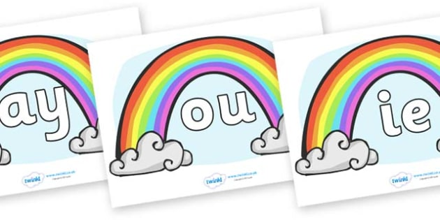 Phase 5 Phonemes on Rainbows - Phonemes, phoneme, Phase 5, Phase five, Foundation, Literacy, Letters and Sounds, DfES, display