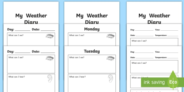 My Weather Diary Booklet Template   Weather, Diary, My Weather Diary, My  Diary  Booklet Template