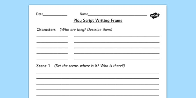 Play Script Writing Frame Play Role Play Writing Aid Scripts