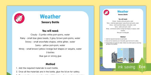 Weather Sensory Bottle - weather, sensory bottle, sensory, eyfs, early years